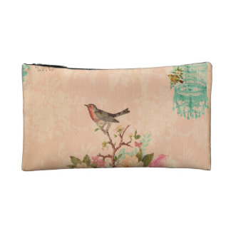 Shabby chic, bird,butterfly,lace,floral,country ch makeup bag