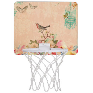 Shabby chic, bird,butterfly,lace,floral,country ch mini basketball hoop