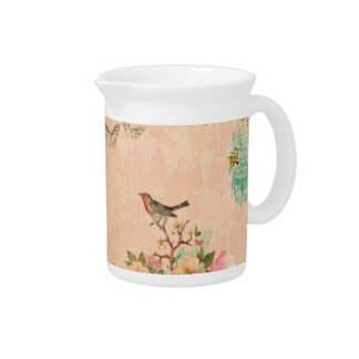 Shabby chic, bird,butterfly,lace,floral,country ch pitcher