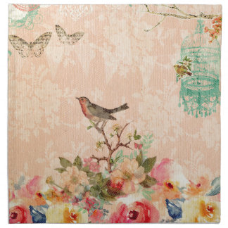 Shabby chic, bird,butterfly,lace,floral,country, napkin