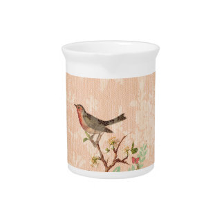 Shabby chic, bird,butterfly,lace,floral,country, pitcher