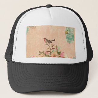 Shabby chic, bird,butterfly,lace,floral,country, trucker hat