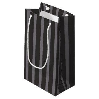 Shabby Chic Black Grey Stripes Pattern Small Gift Bag