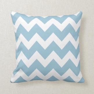 Shabby Chic Blue Chevron Pattern Throw Pillow