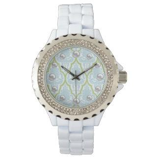 Shabby Chic Blue & Green Damask & Faux Pearl Wrist Watch