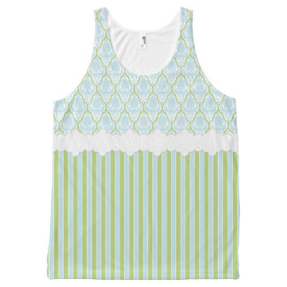 Shabby Chic Blue & Green Damask & Stripes Tank Top All-Over Print Tank Top