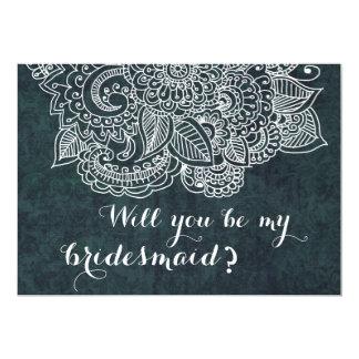 Shabby Chic Blue Vintage Paisley Bridesmaid 13 Cm X 18 Cm Invitation Card