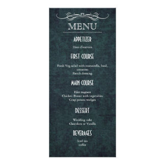 Shabby Chic Blue Vintage Wedding Menu Card Rack Card Design