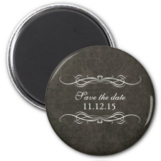 Shabby Chic Blue Vintage Wedding Save the Date 6 Cm Round Magnet
