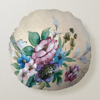 Shabby Chic `Bouquet of Flowers' Round Pillow