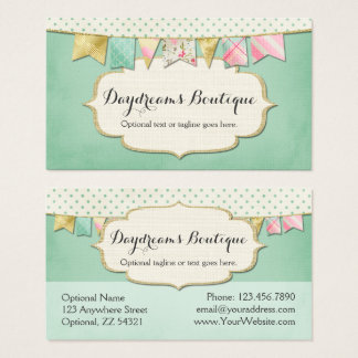 Shabby Chic Boutique Bunting in Pink, Mint & Gold Business Card
