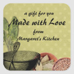 shabby chic bowl whisk herbs spices gift tag label square sticker