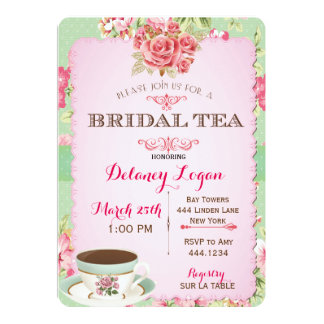 "Shabby Chic Bridal Shower Tea Invitation 5"" X 7"" Invitation Card"