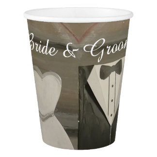 Shabby Chic Bride & Groom Paper Cups