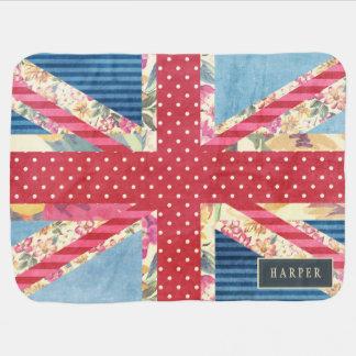 Shabby Chic   British Flag Custom Name Baby Blanket