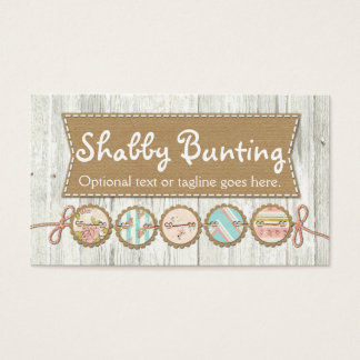 Shabby Chic Bunting on Rustic White Painted Wood Business Card