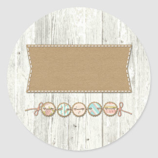 Shabby Chic Bunting on Rustic White Painted Wood Classic Round Sticker