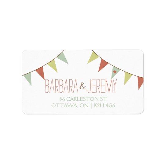 Shabby Chic Bunting Wedding Address Label