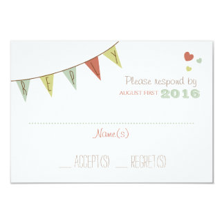Shabby Chic Bunting Wedding Reply Card Delicate
