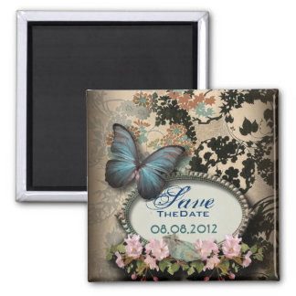 shabby chic butterfly garden wedding save the date square magnet