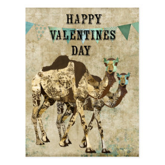 Shabby Chic Camels Valentines Day Postcard