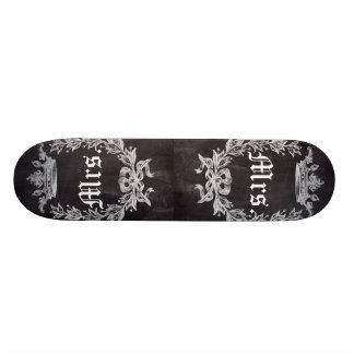 shabby chic chalkboard Mr and Mrs Skate Board