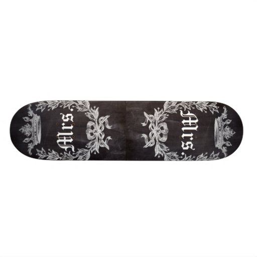 shabby chic chalkboard Mr and Mrs Skate Board