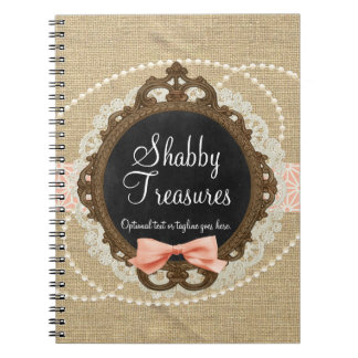 Shabby Chic Chalkboard, Rustic Burlap & Coral Bow Notebook