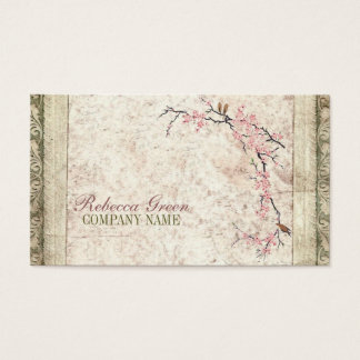 shabby chic cherry Blossom floral Country vintage Business Card