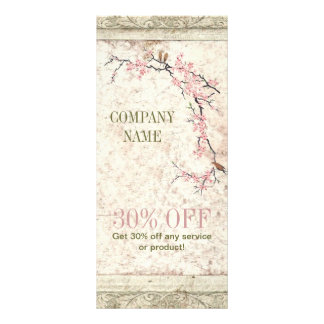 shabby chic cherry Blossom floral Country vintage Rack Card Template