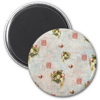 Shabby Chic Christmas Bells blue rose 6 Cm Round Magnet