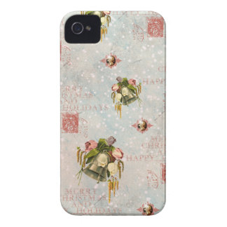 Shabby Chic Christmas Bells blue rose Case-Mate iPhone 4 Case