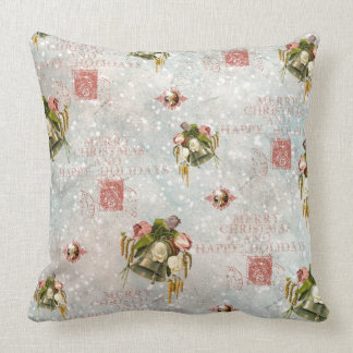 Shabby Chic Christmas Bells blue rose Cushion
