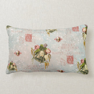 Shabby Chic Christmas Bells blue rose Throw Cushion