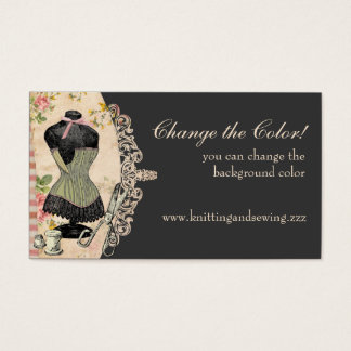 Shabby chic corset scissors sewing business cards