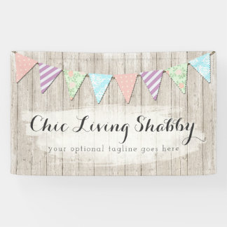 Shabby Chic Country Bunting on Rustic Painted Wood Banner
