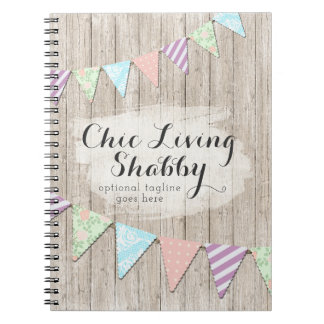 Shabby Chic Country Bunting on Rustic Painted Wood Notebooks