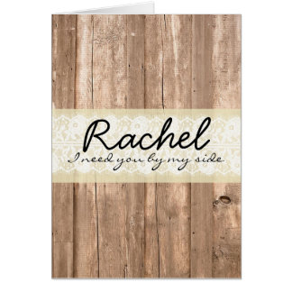 Shabby Chic Country Cream Wood Bridesmaid Card