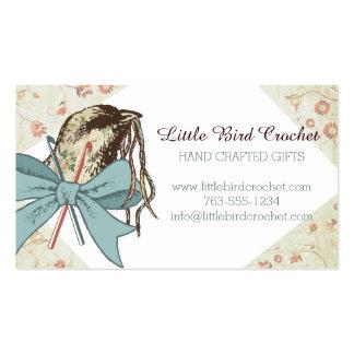 Shabby chic crochet hooks yarn bird ribbon bow business card template