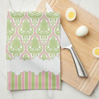 Shabby Chic Damask Green & Pink Tea Tea Towel