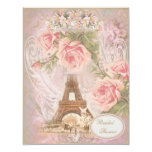 Shabby Chic Eiffel Tower Pink Floral Bridal Shower Invitations
