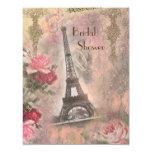 Shabby Chic Eiffel Tower & Roses Bridal Shower 11 Cm X 14 Cm Invitation Card