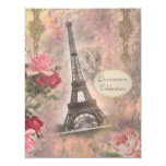 Shabby Chic Eiffel Tower & Roses Quinceanera 11 Cm X 14 Cm Invitation Card