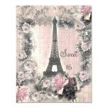 Shabby Chic Eiffel Tower & Roses Sweet 16 11 Cm X 14 Cm Invitation Card