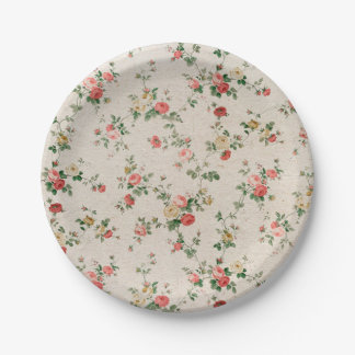 Shabby Chic Elegant Flower Floral Paper Plate
