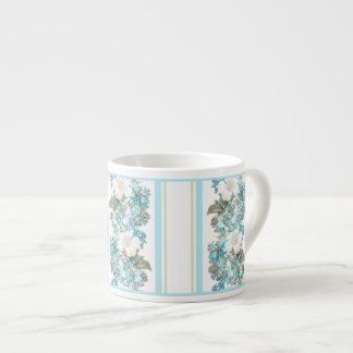 Shabby chic espresso mug floral white blue 6 oz ceramic espresso cup