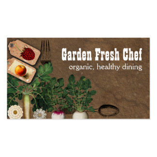 Shabby chic farmers market organic chef biz cards pack of standard business cards
