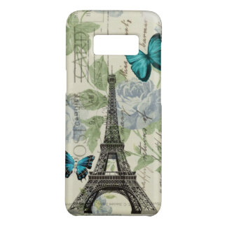 shabby chic floral butterfly paris eiffel tower Case-Mate samsung galaxy s8 case