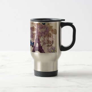 Shabby Chic Floral butterfly Paris Eiffel Tower Travel Mug