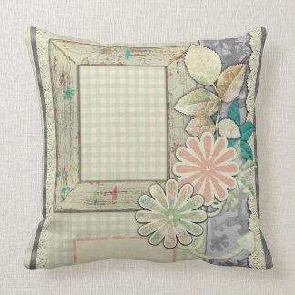 Shabby Chic Floral Frame Pillow